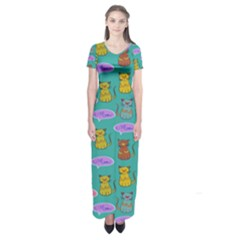 Meow Cat Pattern Short Sleeve Maxi Dress