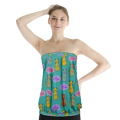 Meow Cat Pattern Strapless Top
