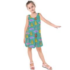 Meow Cat Pattern Kids  Sleeveless Dress