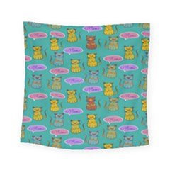 Meow Cat Pattern Square Tapestry (small)