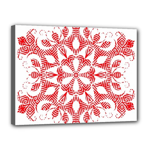 Red Pattern Filigree Snowflake On White Canvas 16  X 12