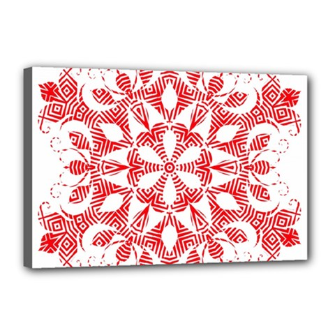 Red Pattern Filigree Snowflake On White Canvas 18  X 12