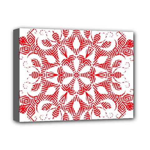 Red Pattern Filigree Snowflake On White Deluxe Canvas 16  X 12