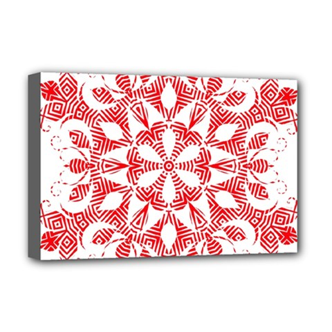 Red Pattern Filigree Snowflake On White Deluxe Canvas 18  X 12