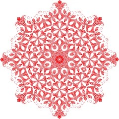 Red Pattern Filigree Snowflake On White Hook Handle Umbrellas (small)