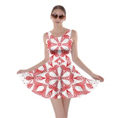 Red Pattern Filigree Snowflake On White Skater Dress