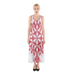 Red Pattern Filigree Snowflake On White Sleeveless Maxi Dress