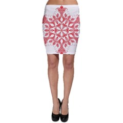 Red Pattern Filigree Snowflake On White Bodycon Skirt