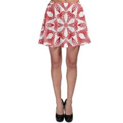 Red Pattern Filigree Snowflake On White Skater Skirt