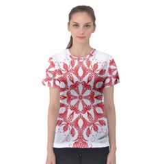 Red Pattern Filigree Snowflake On White Women s Sport Mesh Tee
