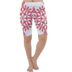 Red Pattern Filigree Snowflake On White Cropped Leggings
