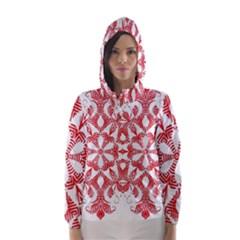 Red Pattern Filigree Snowflake On White Hooded Wind Breaker (women)