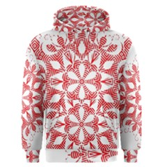 Red Pattern Filigree Snowflake On White Men s Pullover Hoodie