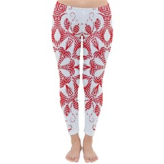Red Pattern Filigree Snowflake On White Classic Winter Leggings