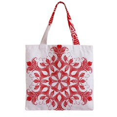 Red Pattern Filigree Snowflake On White Zipper Grocery Tote Bag
