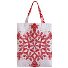 Red Pattern Filigree Snowflake On White Zipper Classic Tote Bag