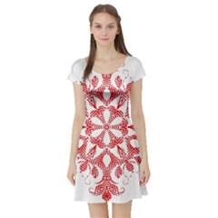 Red Pattern Filigree Snowflake On White Short Sleeve Skater Dress