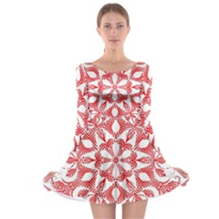 Red Pattern Filigree Snowflake On White Long Sleeve Skater Dress