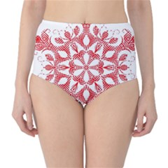 Red Pattern Filigree Snowflake On White High-Waist Bikini Bottoms