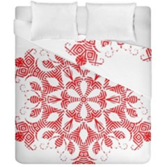 Red Pattern Filigree Snowflake On White Duvet Cover Double Side (california King Size)