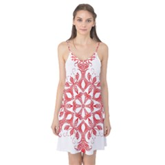 Red Pattern Filigree Snowflake On White Camis Nightgown