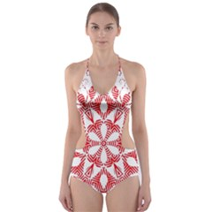 Red Pattern Filigree Snowflake On White Cut Out One Piece Swimsuit