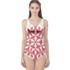 Red Pattern Filigree Snowflake On White One Piece Swimsuit