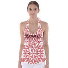 Red Pattern Filigree Snowflake On White Babydoll Tankini Top