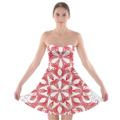 Red Pattern Filigree Snowflake On White Strapless Bra Top Dress