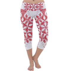 Red Pattern Filigree Snowflake On White Capri Yoga Leggings