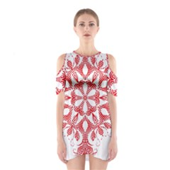 Red Pattern Filigree Snowflake On White Shoulder Cutout One Piece
