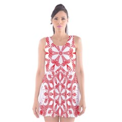 Red Pattern Filigree Snowflake On White Scoop Neck Skater Dress