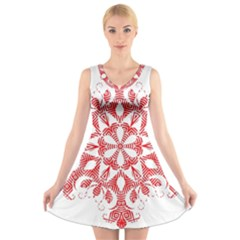 Red Pattern Filigree Snowflake On White V Neck Sleeveless Skater Dress