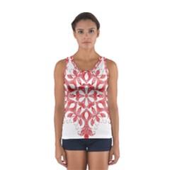 Red Pattern Filigree Snowflake On White Women s Sport Tank Top