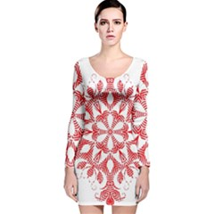 Red Pattern Filigree Snowflake On White Long Sleeve Velvet Bodycon Dress