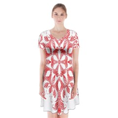Red Pattern Filigree Snowflake On White Short Sleeve V Neck Flare Dress