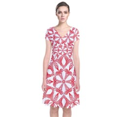 Red Pattern Filigree Snowflake On White Short Sleeve Front Wrap Dress