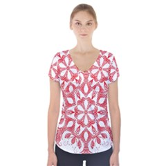 Red Pattern Filigree Snowflake On White Short Sleeve Front Detail Top