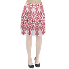 Red Pattern Filigree Snowflake On White Pleated Skirt