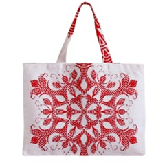 Red Pattern Filigree Snowflake On White Medium Tote Bag