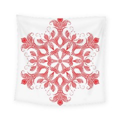 Red Pattern Filigree Snowflake On White Square Tapestry (small)