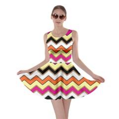 Colorful Chevron Pattern Stripes Skater Dress