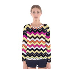 Colorful Chevron Pattern Stripes Women s Long Sleeve Tee