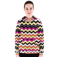 Colorful Chevron Pattern Stripes Women s Zipper Hoodie