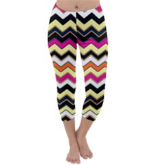 Colorful Chevron Pattern Stripes Capri Winter Leggings