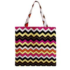Colorful Chevron Pattern Stripes Zipper Grocery Tote Bag