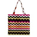 Colorful Chevron Pattern Stripes Zipper Grocery Tote Bag View2