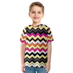 Colorful Chevron Pattern Stripes Kids  Sport Mesh Tee