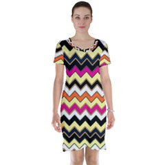 Colorful Chevron Pattern Stripes Short Sleeve Nightdress