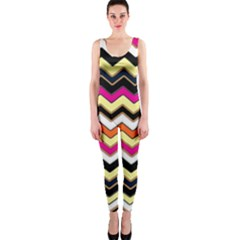 Colorful Chevron Pattern Stripes Onepiece Catsuit